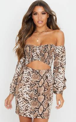 PrettyLittleThing Brown Snake Print Ruched Bust Cut Out Bardot Shift Dress