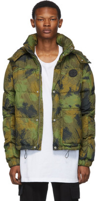 Off-White Green Down Paintbrush Camouflage Jacket