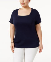 Karen Scott Plus Size Cotton Square-Neck T-Shirt, Only at Macy's