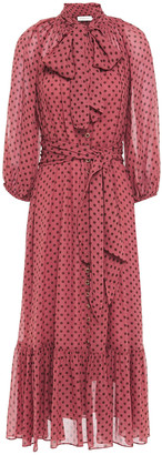 Zimmermann Pussy-bow Polka-dot Georgette Midi Dress