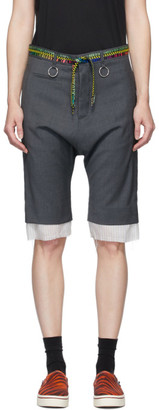R 13 Grey Shoelace Belt Shorts
