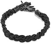 Emanuele Bicocchi Unisex 925 Sterling Silver Black Oxidised Braided Bracelet of Length 24cm