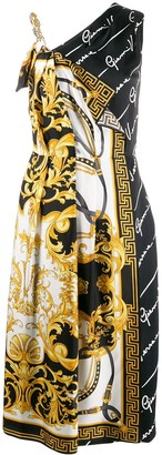 Versace V Barocco print asymmetric dress