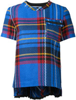 Sacai tartan sheer back blouse - women - Cotton - 3