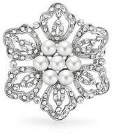 Bling Jewelry White Simulated Pearl Flower Elegant Mum Brooch Pin Crystal Rhodium Plated.