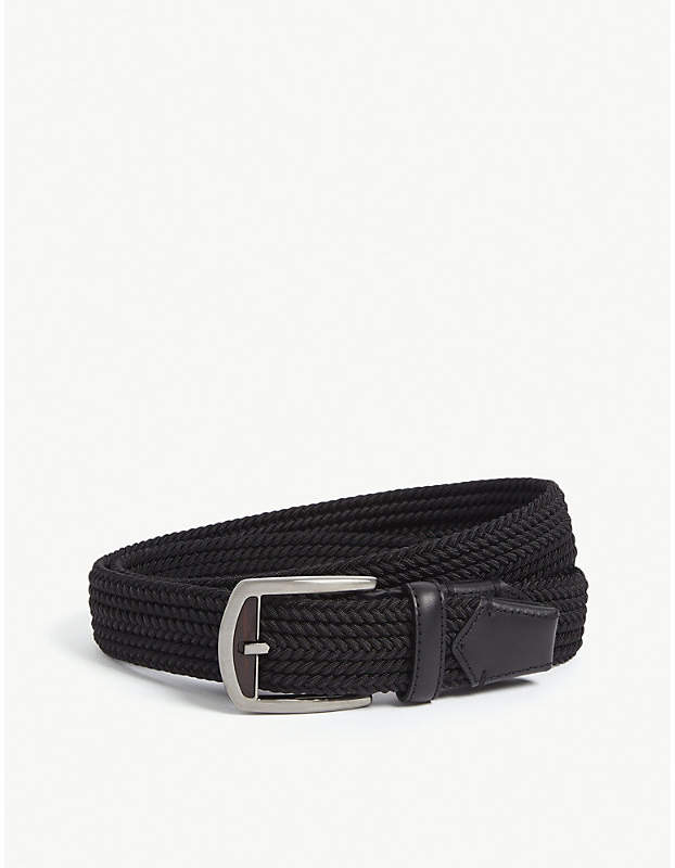 be15b87640 Leather-trimmed woven belt
