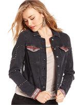 GUESS Jacket, Brittney Faux-Leather Fringe Embroidered Studded Denim Jacket