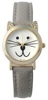 Geneva Platinum Women's Rhinestone Accent Cat Face Simulated Leather Band Watch