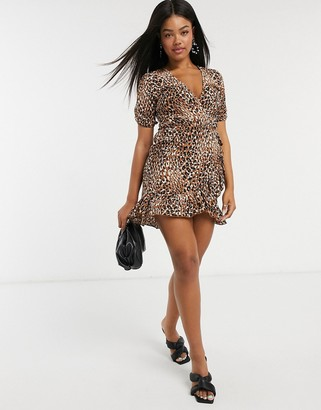 Stradivarius mini dress with frill in brown animal print