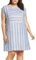 Plus Size Women's Caslon Mix Stripe Linen Shift Dress