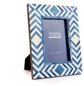 Twos Company Two's Company Blue and White Moderne Bone Mosaic Photo Frame