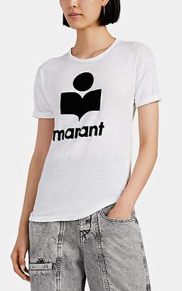 Etoile Isabel Marant Women's Koldi Flocked-Logo Linen T-Shirt - White