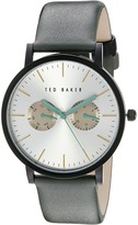 Ted Baker Smart Casual Collection Custom Multifunction Sub-Eye w/ Contrast Detail Date Leather Strap Watch Watches