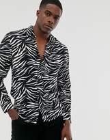 Brave Soul zebra long sleeve shirt