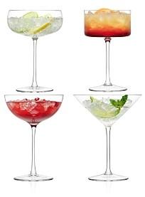 LSA International Lulu Assorted Champagne/Martini Glasses, Set of 4