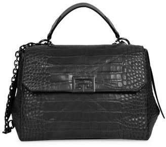 Givenchy Medium ID Croc-Embossed Leather Crossbody Bag
