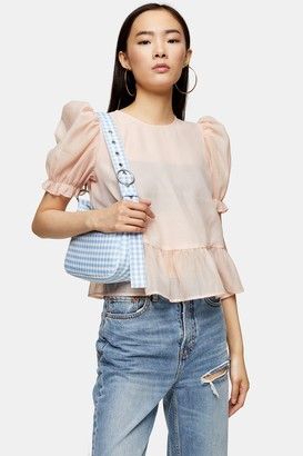 Topshop Sheer Bow Back Textured Blouse