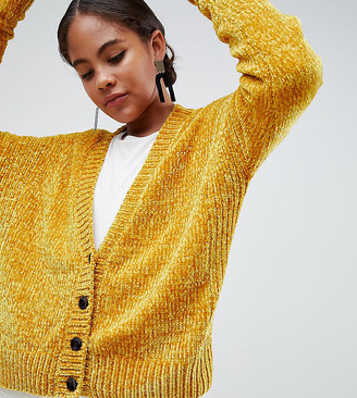 Asos Tall ASOS DESIGN Tall Cropped Cardigan In Chenille With Buttons