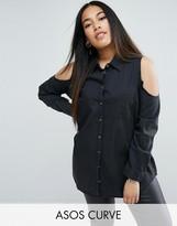 Asos Denim Cold Shoulder Shirt in Washed Black