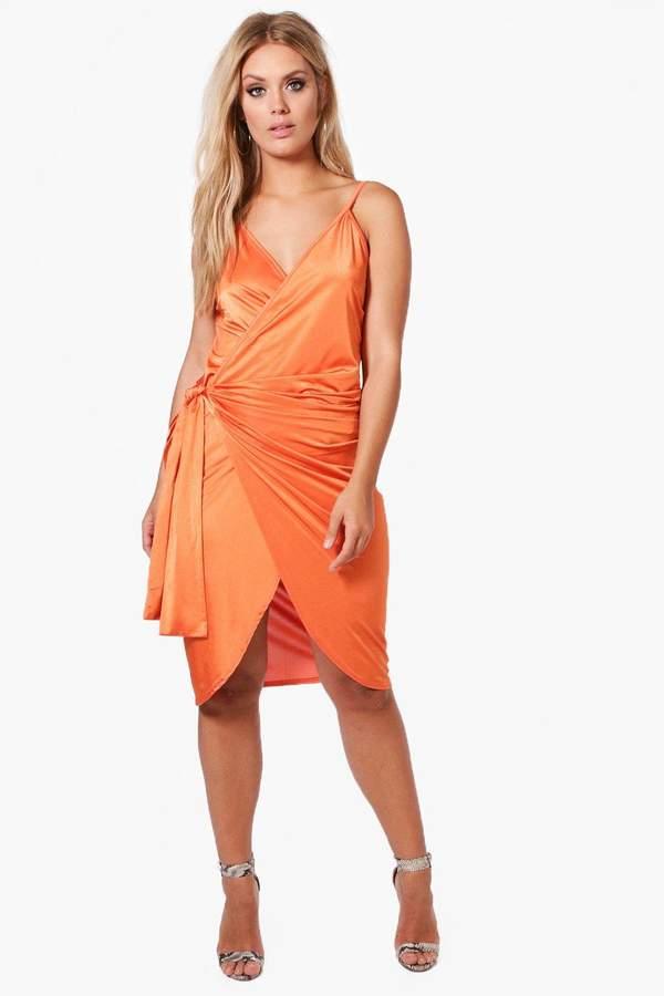 boohoo Plus Slinky Strappy Knot Wrap Midi Dress