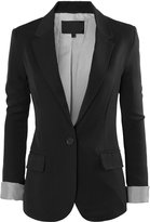 RubyK Womens Cuffed Sleeve One Button Oversized Boyfriend Blazer with Pockets