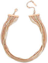 "Kenneth Cole New York Tri-Tone Multi-Row Collar Necklace, 17"" + 3"" extender"