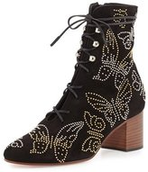 Valentino Butterfly-Studded Lace-Up Boot, Black (Nero)