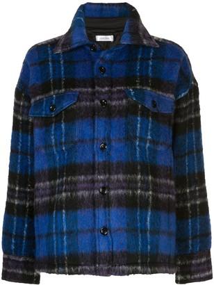 Anine Bing Samone oversized plaid-pattern coat