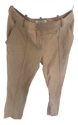 Christian Dior Beige Leather Trousers
