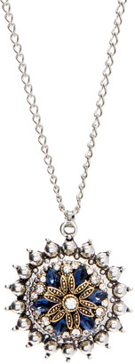 Snap Jewels Women's Necklaces SILVER - Crystal & Two-Tone Flower Explosion Snap Pendant Necklace