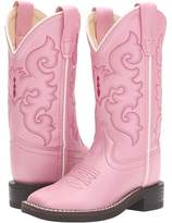 Old West Kids Boots R Toe w/ Silver Toe Rand Cowboy Boots