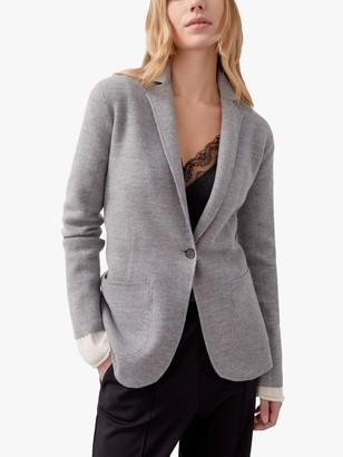 Jigsaw Boiled Wool Blazer, Light Grey Melange