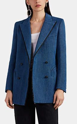 BLAZÉ MILANO Women's Everyday Denim-Effect Linen-Cotton Double-Breasted Blazer - Blue Denim