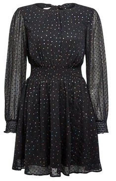 Dorothy Perkins Womens Lola Skye Black Chiffon Polka Dot Print Fit And Flare Dress, Black