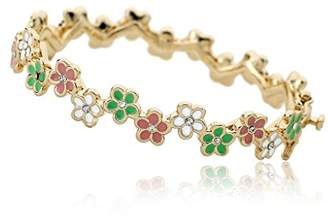 """Little Miss Twin Stars """"Frosted Flowers"""" 14k Gold-Plated Multicolored Cutout Flowers Bangle Bracelet"""