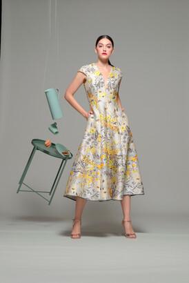 Isabel Sanchis Floral Cap Sleeve Midi-Tea Dress