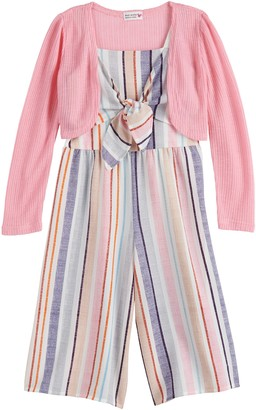 Knitworks Girls 4-6x Knot Front Striped Jumpsuit and Shrug Set