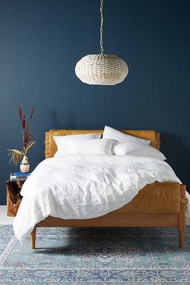 Anthropologie Stitched Linen Duvet Cover By in White Size Q top/bed