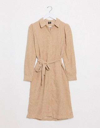 Vero Moda cord shirt dress in beige