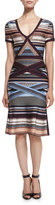 Herve Leger Short-Sleeve Multi-Stripe Dress