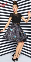 Mac Duggal Two Piece Chalkboard Print Homecoming Dress