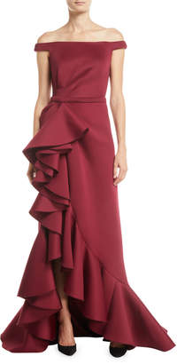 Jovani Off-Shoulder Ruffle Cascade Gown