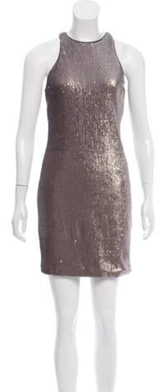Halston Sequin Mini Dress w/ Tags Grey Sequin Mini Dress w/ Tags