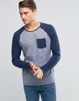 Esprit Raglan Long Sleeve Top with Contrast Sleeves and Pocket