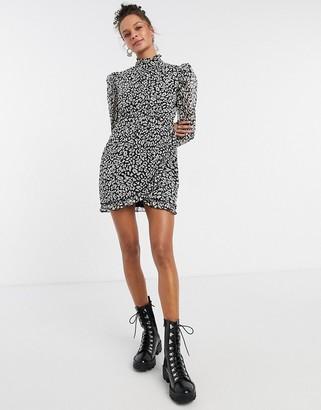 Topshop high neck mini dress in monochrome print