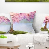 "Floral Flowering Tree by Lake Pillow East Urban Home Size: 16"" x 16"", Product Type: Throw Pillow"