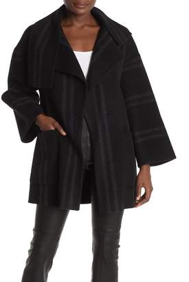 Vince Stripe Blanket Wool Blend Coat