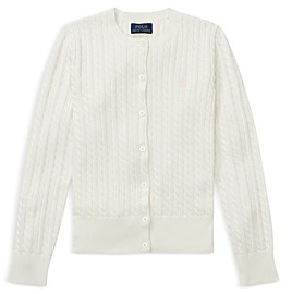 Ralph Lauren Polo Girls' Cable-Knit Cardigan - Big Kid