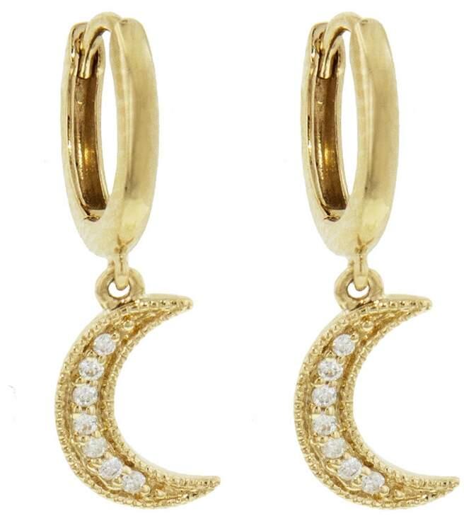 Andrea Fohrman Diamond Moon Drop Earrings - Yellow Gold