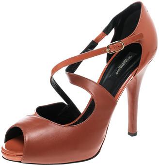 Dolce & Gabbana Orange Leather Peep Toe Strappy Sandals Size 40